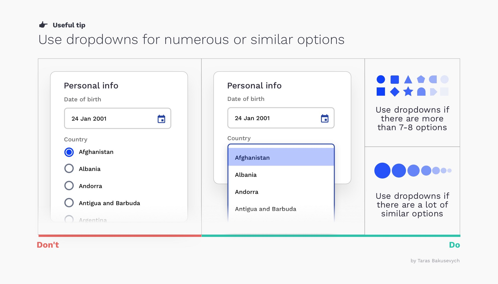 Selector design tips (checkboxes, radio buttons, switches, etc.)