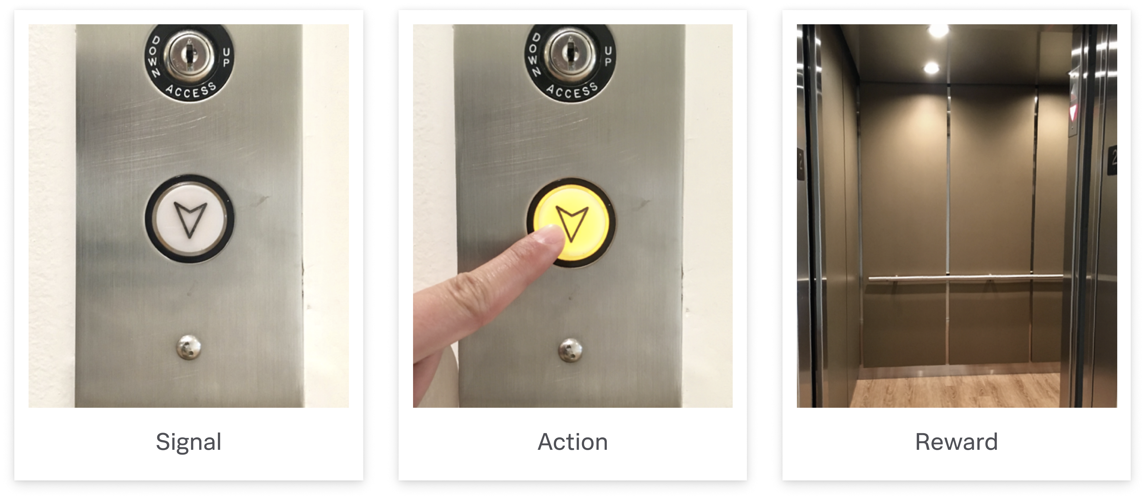 An interaction cycle with an elevator button