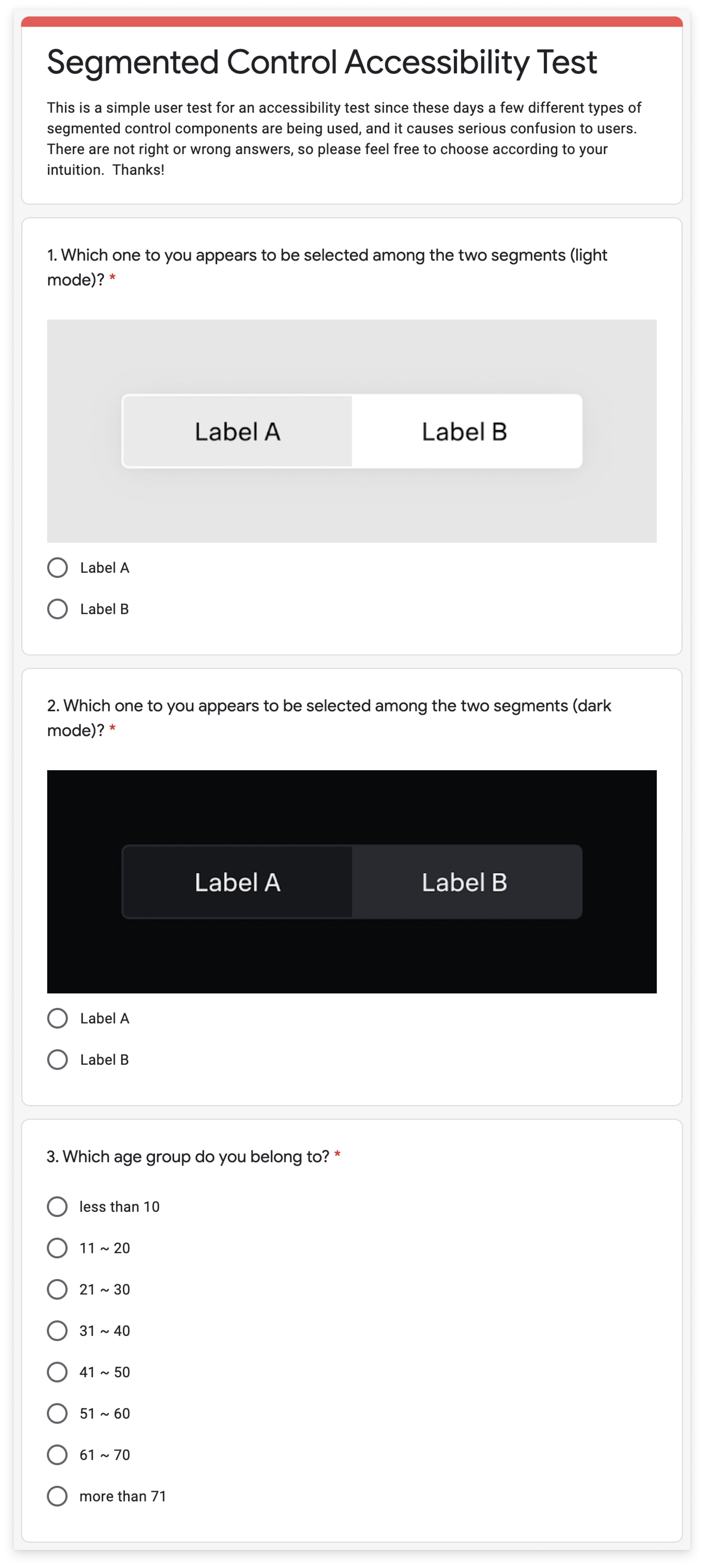 User survey form for Segmented Control research