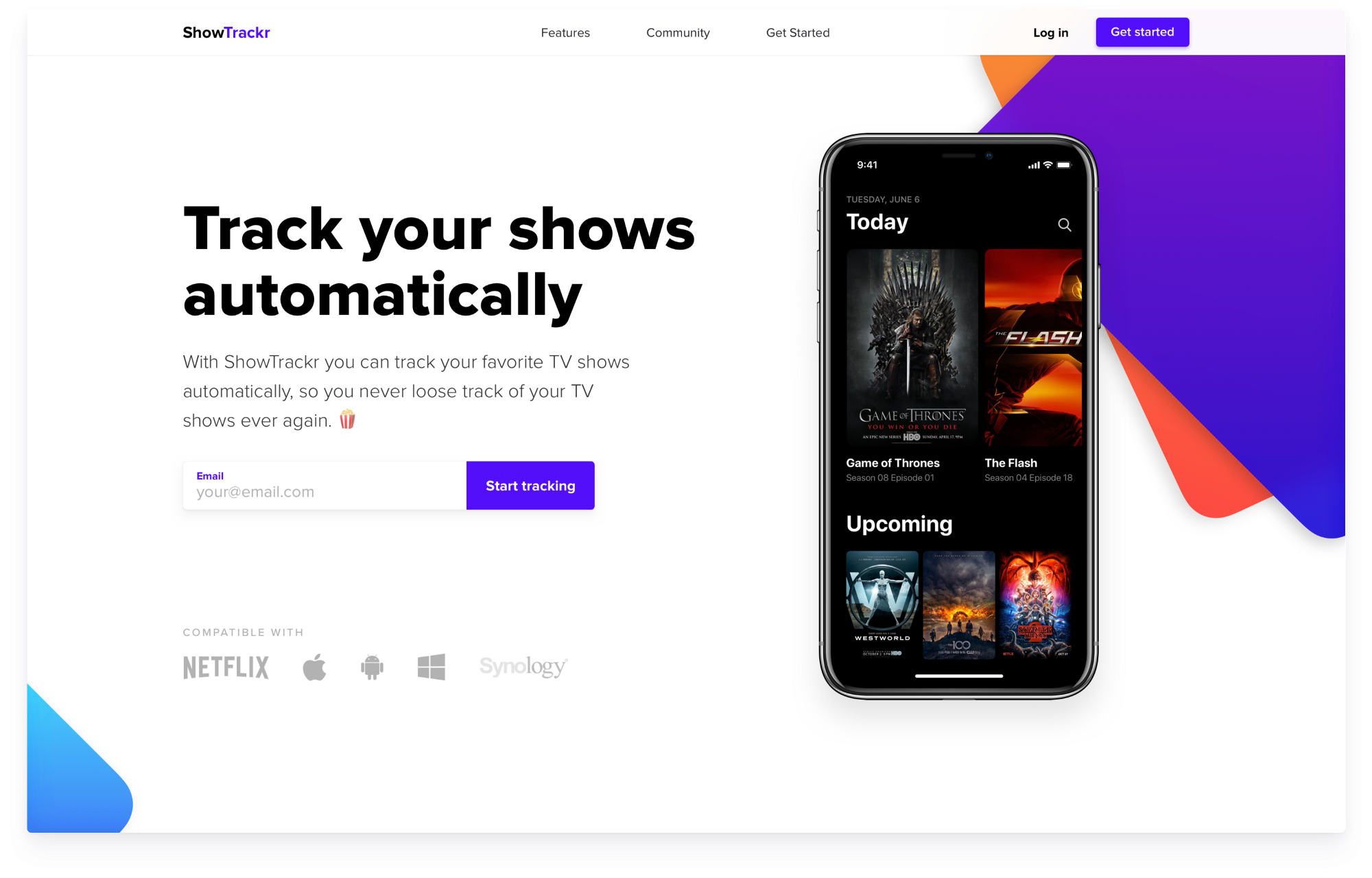 ShowTrackr - a case study for creating a landing page optimized for conversions