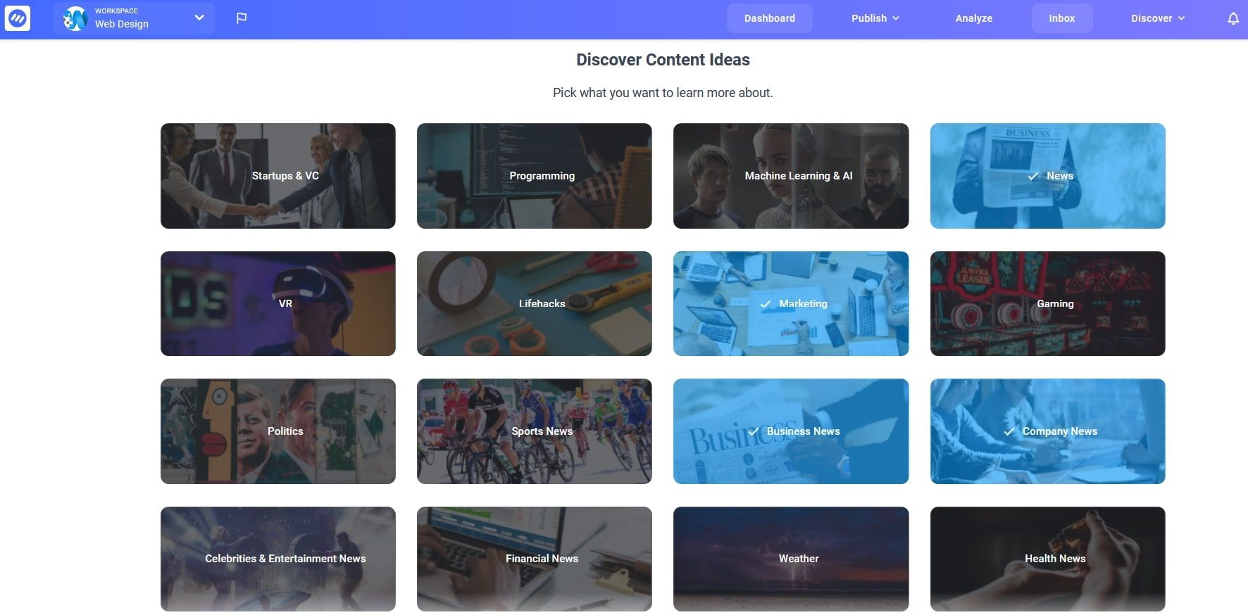 Choose topics that interest you in ContentStudio and track trends