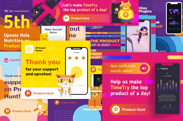 Crello templates for Product Hunt launch